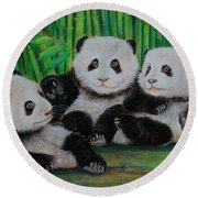 Panda Cubs Round Beach Towel by Jean Cormier