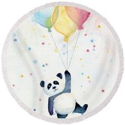 Panda Floating With Balloons Round Beach Towel