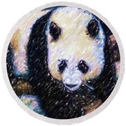 Round Beach Towel featuring the painting Panda In The Rest by Lanjee Chee