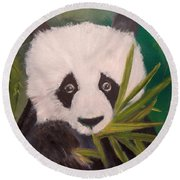Round Beach Towel featuring the painting Panda by Jenny Lee