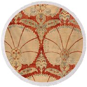 Panel Of Red Cut Velvet With Carnation Round Beach Towel