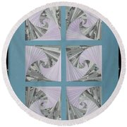 Round Beach Towel featuring the mixed media Panes by Ron Davidson