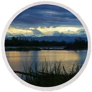 Pano Denali Midnight Sunset Round Beach Towel