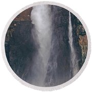 Panorama Angel Falls In Canaima National Park Venezuela Round Beach Towel