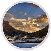 Panorama Cape Town Harbour At Sunset Round Beach Towel