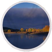 Round Beach Towel featuring the photograph Panorama Clearing Storm Oxbow Bend Grand Tetons National Park Wyoming by Dave Welling