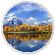 Round Beach Towel featuring the photograph Panorama Fall Morning At Oxbow Bend Grand Tetons National Park by Dave Welling