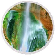 Round Beach Towel featuring the photograph Panorama Lower Calf Creek Falls Escalante Nm Utah by Dave Welling