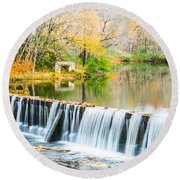 Panorama Of Buck Creek In Autumn Round Beach Towel