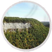 Panorama Of Cliff At Letchworth State Park Round Beach Towel