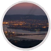Round Beach Towel featuring the photograph Panorama Of Ferrol From Mount Marraxon Galicia Spain by Pablo Avanzini