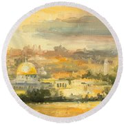 Panorama Of Jerusalem Round Beach Towel