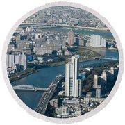 Panorama Of Tokyo Round Beach Towel by Jill Mitchell