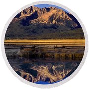 Panorama Reflections Sawtooth Mountains Nra Idaho Round Beach Towel