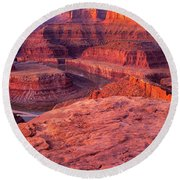 Round Beach Towel featuring the photograph Panorama Sunrise At Dead Horse Point Utah by Dave Welling