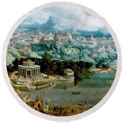 Panorama With The Abduction Of Helen Amidst The Wonders Of The Ancient World Round Beach Towel