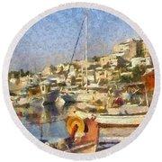 Panoramic Painting Of Mikrolimano Port Round Beach Towel