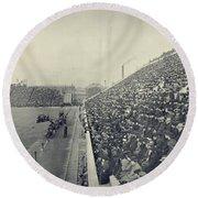Panoramic Photo Of Harvard  Dartmouth Football Game Round Beach Towel by Edward Fielding