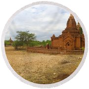 Round Beach Towel featuring the photograph Panoramic View Next To Dhammayazika Pagoda Built In 1196 By King Narapatisithu by Ralph A  Ledergerber-Photography