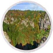Panoramic View Of The Elbe Sandstone Mountains Round Beach Towel