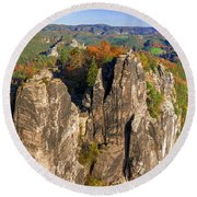 Panoramic Views Of Neurathen Castle Round Beach Towel