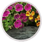 Pansies And Petunias Round Beach Towel