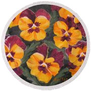 Pansies Are For Thoughts Round Beach Towel