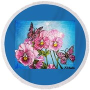 Pansy Pinwheels And The Magical Butterflies With Blue Skies Round Beach Towel
