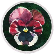 Pansy Red Round Beach Towel