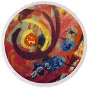 Round Beach Towel featuring the painting Pansymania by Donna Tuten