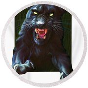 Panther Attack Round Beach Towel