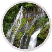 Panther Creek Falls 2- Washington Round Beach Towel