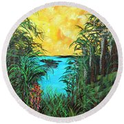 Round Beach Towel featuring the painting Panther Island In The Bayou by Alys Caviness-Gober