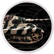 Panzer Tiger II Side Bk Bg Round Beach Towel