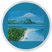 Papeete Bay In Tahiti Round Beach Towel