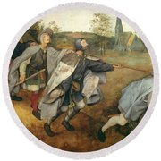 Parable Of The Blind, 1568 Tempera On Canvas Round Beach Towel