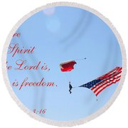 Round Beach Towel featuring the photograph Parachuting With Old Glory by Connie Fox