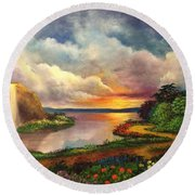 Paradise And Beyond Round Beach Towel