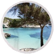 Paradise In Minorca Is Called Cala Mitjana Beach Where Sand Is Almost White And Sea Is A Deep Blue  Round Beach Towel