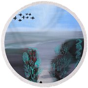 Round Beach Towel featuring the painting Paradise by Lorna Maza