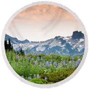 Paradise Meadows And The Tatoosh Range Round Beach Towel