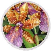 Paradise Orchid Round Beach Towel by Jane Girardot