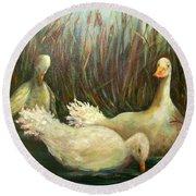 Paradise Pond,ducks  Round Beach Towel