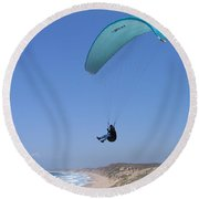 Paraglider Over Sand City Round Beach Towel