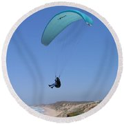 Paraglider Over Sand City Round Beach Towel