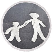Parent And Child Marking Round Beach Towel