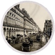 Paris 1900 Rue De Rivoli Round Beach Towel