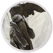 Paris Angel Louvre Museum- Winged Victory Of Samothrace Round Beach Towel