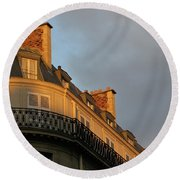 Round Beach Towel featuring the photograph Paris At Sunset by Ann Horn