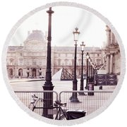 Paris Bicycle Louvre Museum - Paris Bicycle Street Lantern - Paris Bicycle Louvre Museum Street Lamp Round Beach Towel